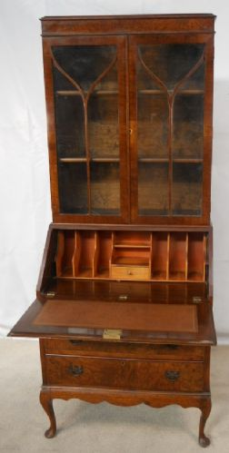 Antique Queen Anne Style Walnut Bureau Bookcase - SOLD
